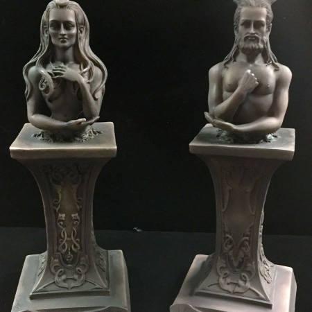 HORNED GOD & MOON GODDESS HERM ALTAR STATUE SET STONE FINISH RESIN by Maxine Miller ©celticjackalope.com