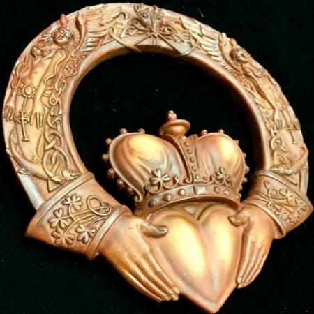 "Irish Claddagh Wood Finish Resin Artist: Maxine Miller Measurements: 7"" L X 6-1/2"" ©celticjackalope.com"