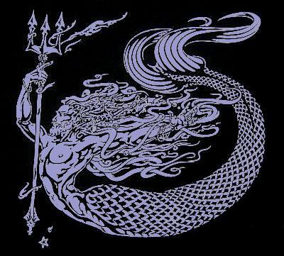 Merman God Poseidon Long Sleeve Men's Shirt by Maxine Miller