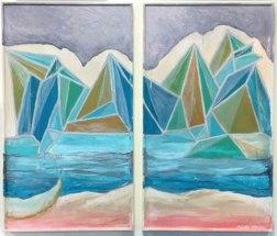 "SOLD ""Crystal Mountain"" Diptych Framed Canvas, maxine orange art 2016"
