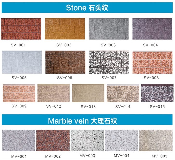 stone and marbles patterns metal embsosed wall panels