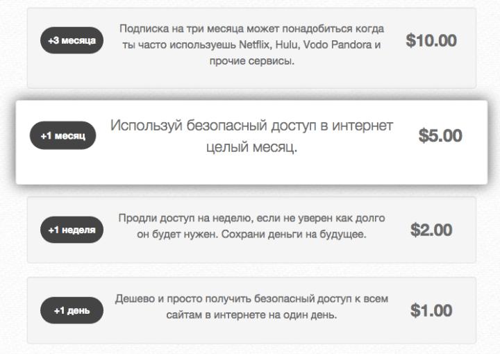 Стоимость VPN-доступа у Seed4.me.