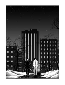 Hei, olen Eelis Nilukka! Pääprojektini on pitkä scifi/draama-aiheinen BSandL-nettisarjakuva, lisäksi teen silloin tällöin lyhyempiä projekteja. BSandLia voi lukea Tapas.io ja Webtoons.com-sivustoilta. Lyhyttarinat löytää osoitteesta queerwebcomic.com. nilukka.comics@gmail.com