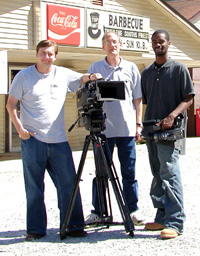 Production crew at Top Hat BBQ