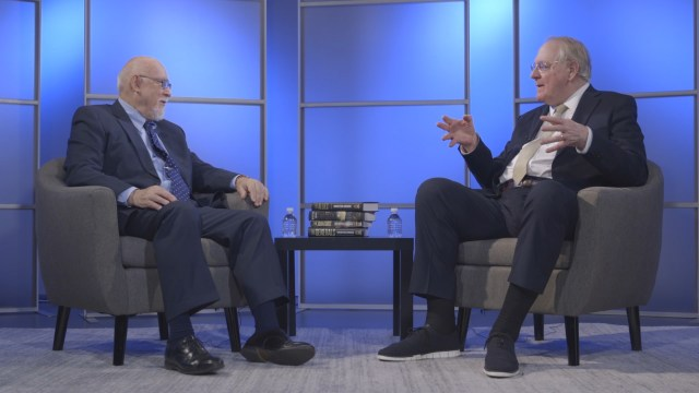 Don Noble and author Winston Groom on the set of Bookmark with Don Noble