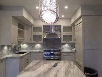 Mont blanc quartzite kitchen and full backsplash ...