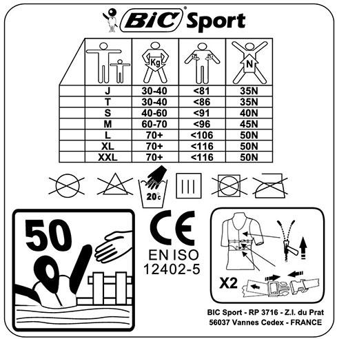 BIC Buoyancy Aid Size Chart