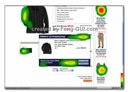 Heat map tool Feng-GUI that tracks eye movement, shows how a poorly designed check-out popup draws too little attention.