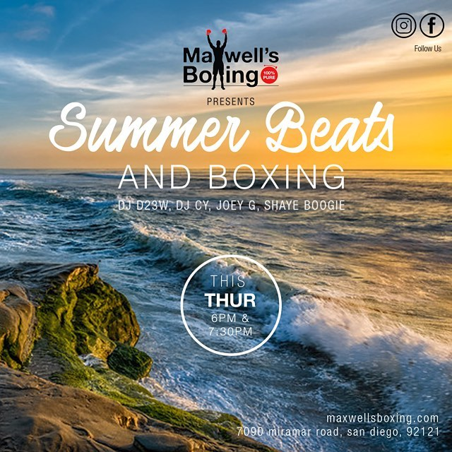 Weekend's in sight, but can't find relief from the heat? ️ Come groove with us at @maxwellsboxing on Thur and enjoy the cool vibes of Beats n Boxing ️😎️6pm with Coach Gwena and 730pm with Coach Henry.  Give us a try, your 1st class is always FREE. ..#maxwellsboxing #boxing #sdgyms #beatsnboxing #sdoriginal #hiphop #grit #100percentpure #sorrentovalley #miramar #miramesa #lajolla #scrippsranch #poway #delmar #ranchopenasquitos #pq #rb #ranchobernardo