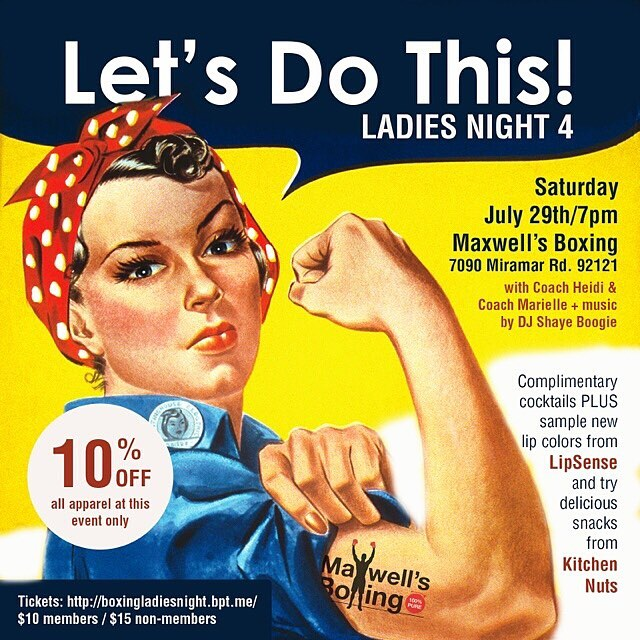 Tomorrow is Ladies Boxing Night at @maxwellsboxing! Featuring Coach Heidi and DJ Shaye Boogie keeping you moving, starting at 7pm! Also in the house, Lip Wanderlust by Bel and Kitchen Nuts! Hope to see you there - tickets can be purchased via the link in bio. Members get your discounted tickets at the gym! ...#maxwellsboxing #ladiesnight2017 #gno #lipsense #kitchennuts #girlpower #summerinsd #whattodoinsd #miramar #miramesa #poway #scrippsranch #ranchobernardo #pq #lajolla #delmar #carmelvalley @kitchennuts
