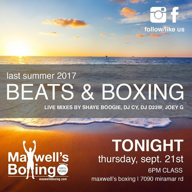 It's Thumpday Thursday!  Beats & Boxing this evening!  Get your boxing workout on to live music mixes! MaxwellsBoxing.com#boxing #sandiegoboxing #gyms #sdgyms #sdfitness #fitness #musicworkout #music #sddjs #sandiego #miramar #miramesa #pq #scrippsranch #lajolla #delmar #maxwellsboxing #beatsandboxing