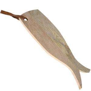 Tocator lemn in forma de peste, platou servire aperitive peste, tocator lemn in forma de peste, agatator piele, L 50 cm, l 18 cm-0