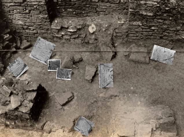 Figure 3. Identifiable blocks, with higher-resolution images inserted (photograph courtesy of the Penn Museum Archives)