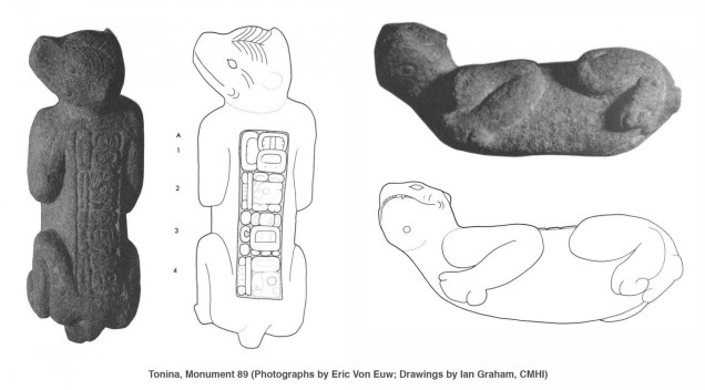 Top and Side views of Monumentt 89 from Tonina (Adapted from Graham and Mathews 1996:118).