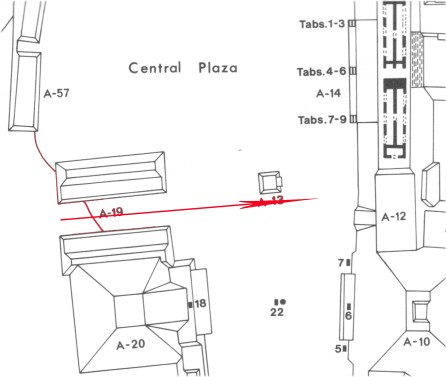 Figure 4. Alignment of Ceibal A-19 ballcourt with possible tomb to the east (map by Ian Graham, Corpus of Maya Hieroglyphic Inscriptions Project).