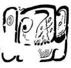Figure 7. Summons or invitation in Mural of the 96 Glyphs, N1, Acropolis, Room 29sub, Ek Balam (drawing by Alfonso Lacadena).