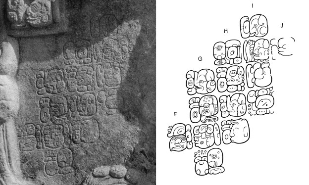 Figure 2. The incised text on Calakmul Stela 51 (F1-J1): a) Photograph by Frances Morley (courtesy of the Corpus of Maya Hieroglyphic Inscriptions at the Peabody Museum, Harvard University); b) Drawing by Simon Martin.