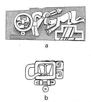 FIgure *. The headband sign with calendar glyphs in Ñuiñe writing. After Moser (1977).