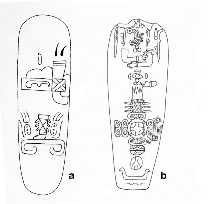 Figure *. Two Olmec celts with examples of the headband sign.