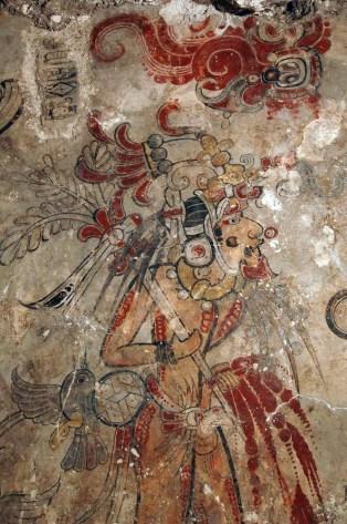 FIgure *. Directional Juun Ajaw figure from the San Bartolo murals. Photogrpah courtesy of Ken Garrett.