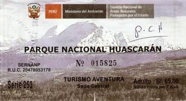 Santa Cruz Huascaran PN boleto