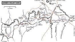 Ethiopie Simien Mountains Trekking carte 17 000