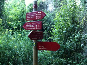 2014-07-12 Ruta dels Refugis (30) Mas des Fores Depart ruta Mont Ral Panneau