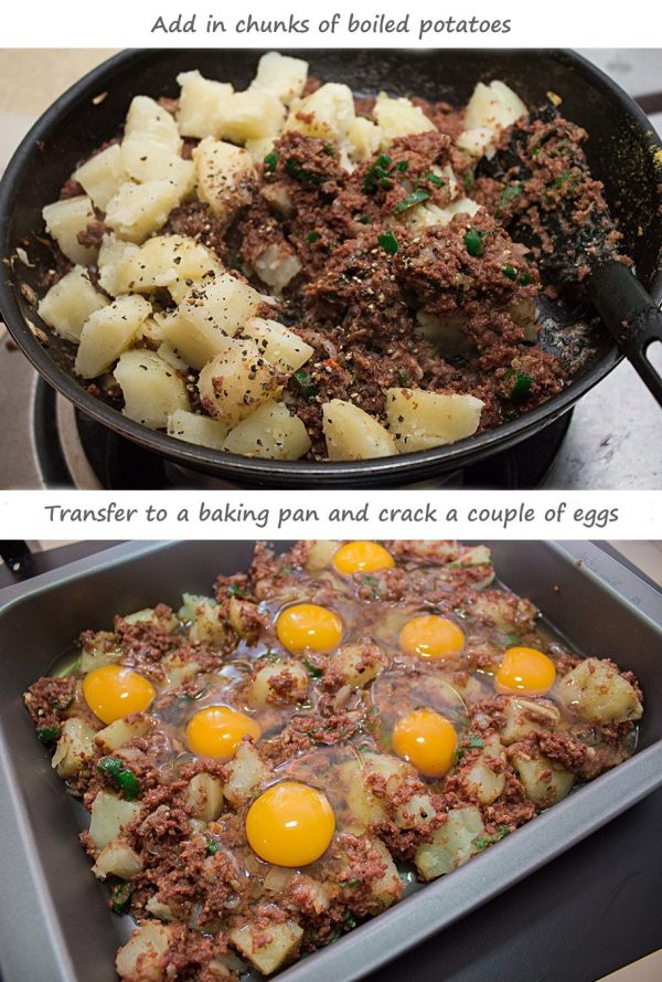 Corned Beef Potatoes and Eggs