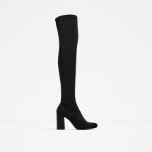 Zara Black Suede Over the Knee Boots