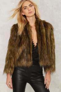 Nasty Gal Brown Faux Fur Jacket