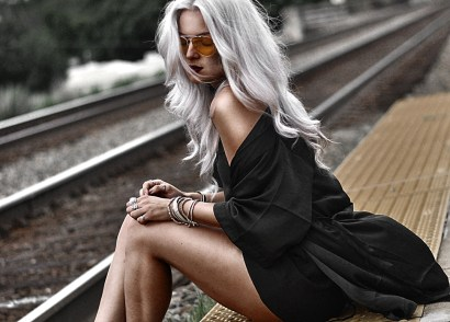 You need to wear this sexy black satin kimono outfit. The robe can go from slinky lingerie to street fashion with a few accessories. SUCH a cute look!