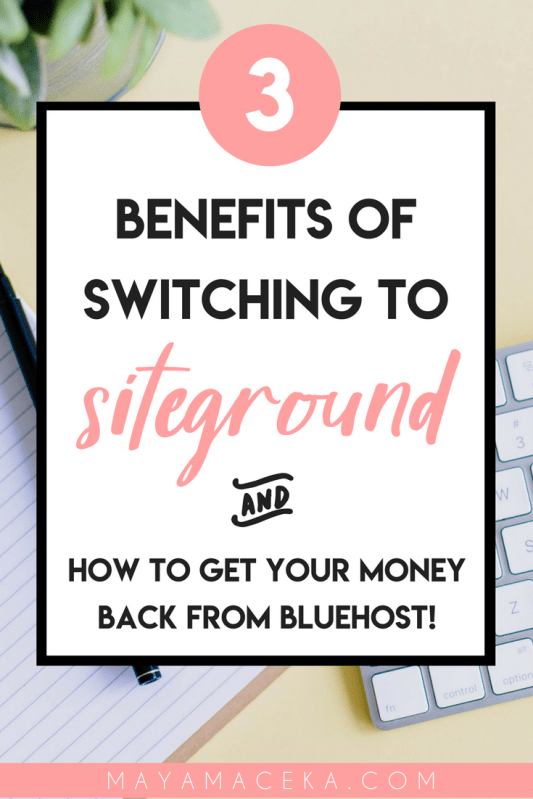 Need blog hosting? Wondering who is the best hosting provider? It all comes down to Bluehost vs. Siteground. And in this post, I talk about the benefits of Siteground, how to make the switch & how to get your money back from Bluehost! #wordpress #siteground #bloggingtips