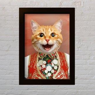 personalizirani portret kućnog ljubimca narodna nošnja