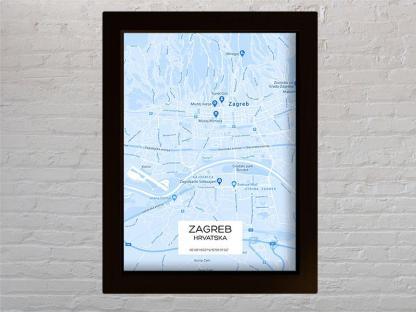 karta grada zagreb hrvatska svijetlo plavi reljef