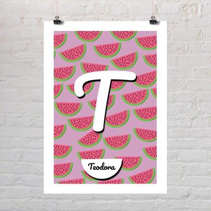 lubenice uzorak personalizirani poster s dječjim imenom