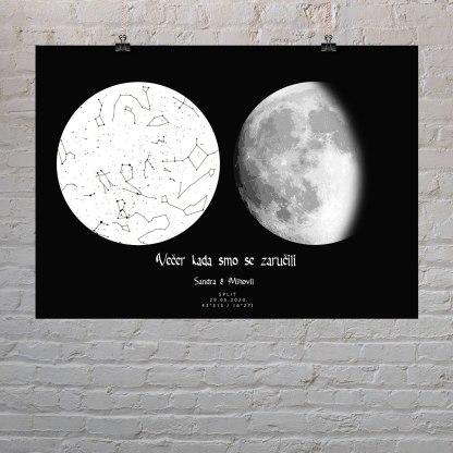 mjesečeva mijena i zvjezdana mapa bijelo crna poster