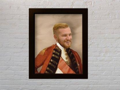 personalizirani poklon portret prijatelja u generalskom odijelu