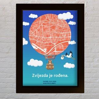 poklon za rođenje djeteta balon s kartom zagreba