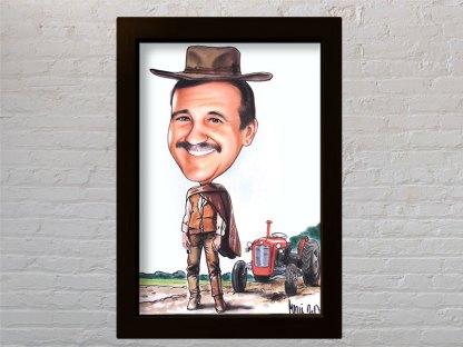 portret karikatura kao kauboj u vesternu dobar loš zao