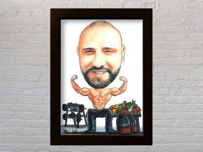 poklon za bodibildera portret kariaktura