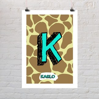 žirafa personalizirani poster s dječjim imenom