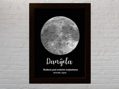 mapa zvijezda s mjesecom