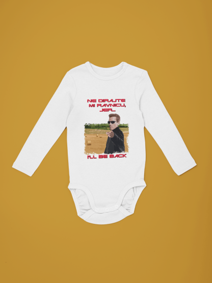 mockup of a long sleeve onesie over a colored background 29831 2