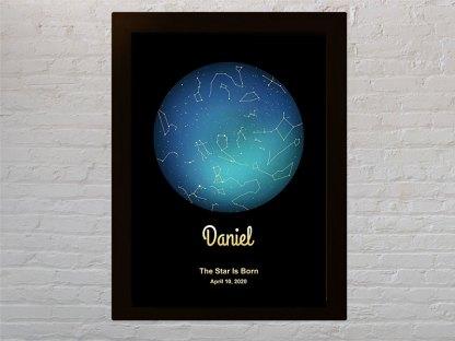 zvijezde okvir poklon za rodjendan plavi planet zlatne zvijezde