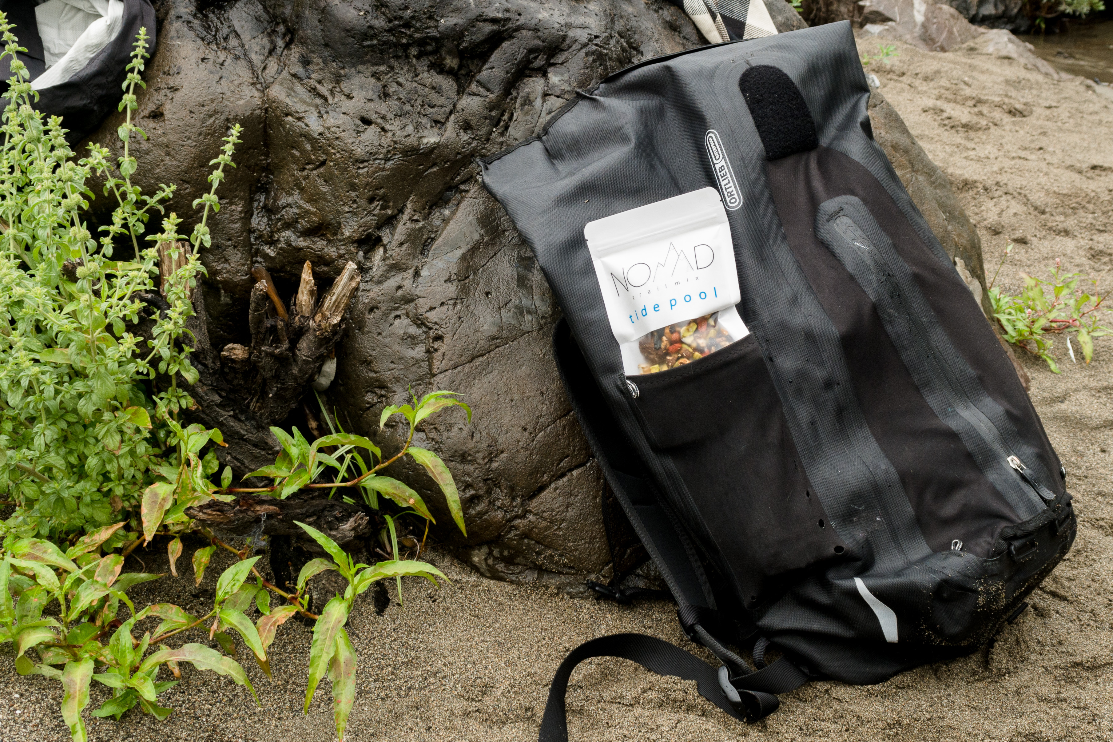 One bag of trail mix inside backpack