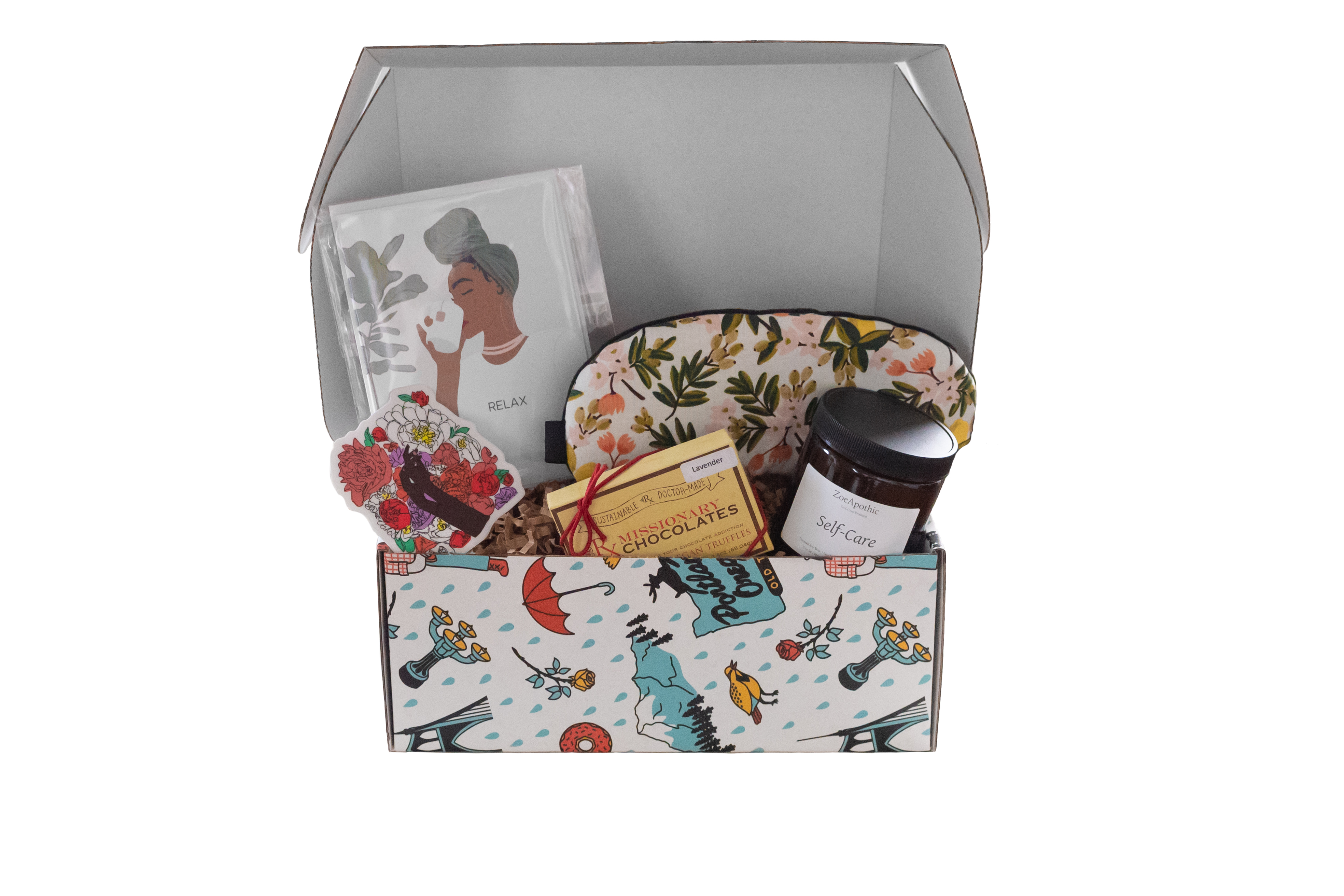 Self care bipoc women's month box. staged food photography
