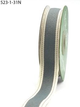 Grey Stitched Edge Cotton Ribbon
