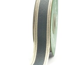 Grey Stitched Edge Cotton Ribbon