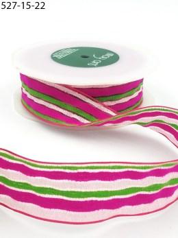 fuchsia white green terrycloth stripes ribbon