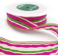 fuchsia white green terrycloth stripes ribbon